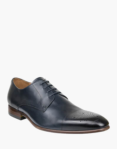 Ashton EMBOSSED CAP TOE DERBY in NAVY for $159.00